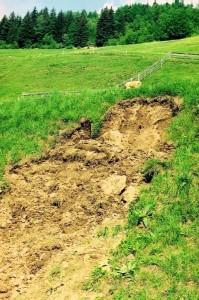 Bodenrutschung durch Überschreiten der Scherfestigkeit